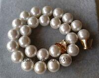 charme große 16mm weiße Muschel Perlenkette 18 Zoll Magnetverschluss