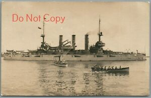 USS CONNECTICUT, SAILORS IN ROW BOATS - GREAT WHITE FLEET RPPC POSTCARD