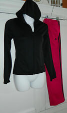 ADIDAS 2 pc. SET Small JACKET Pants BLACK PINK Track JOGGING Suit ATHLETIC    j