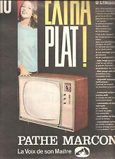 PUBLICITE ADVERTISING  1960 PATHE MARCONI Télévision Ecran Extra Plat 110°