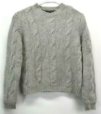 Abercrombie & Fitch Women's Medium V-Neck Lambswool Cable Knit Sweater Gray