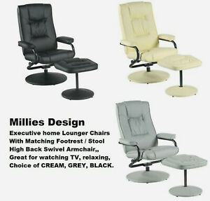 TV Armchair recliner relax swivel chair lounger lounge with foot stool reclining