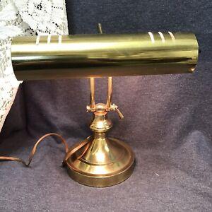 Vintage Gold Desk Lamp Bankers Adjustable Neck Table Judges Lamp