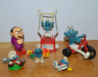 VINTAGE SMURFS FIGURINES COLLECTIBLES TOYS LOT BASEBALL PITCHER ICE SKATE CLUMSY