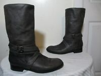 PAUL ANDREW OLIVE GREEN SOFT LEATHER ANKLE STRAP MID-CALF BOOTS SZ 39 US 8.5