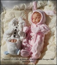 "BABYDOLL HANDKNIT DESIGNS KNITTING PATTERN BUNNY/TEDDY ALL IN ONE SET 8-14"" DOLL"