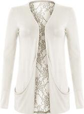 BNWT Ladies Lace Back Open Pocket Boyfriend Cardigan Long Sleeve Size 8-22 Women