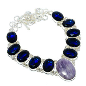 """Charoite - Siberia & Blue Sapphire 925 Sterling Silver Necklace 17.99"""" N1585-41"""