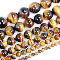 """New Natural Yellow Tiger's Eye Gemstones Beads 15"""" 4mm 6mm 8mm 10mm 12mm 14mm"""
