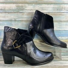 Ros Hommerson Womens 11WW Ankle Boots Shoes Black Leather Zip Up Block Heel
