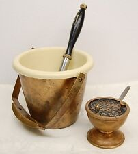 OLDER HOLY WATER BUCKET & SPRINKLER / ASPERGIL + BOAT AND SPOON