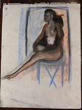 Rita Shulak -Sitting Black Woman - Sketch Painting-Pastel on paper