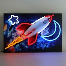 Junior Neon Sign Rocket Outer Spac hand blown glass Neonetics 5JRRKT 18X12X3 NEW
