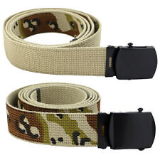 Military Army Uniform Cotton Canvas Metal Buckle Trouser Belt Reversible Desert