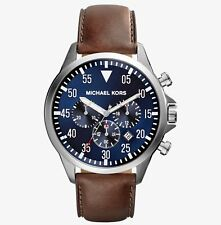 Michael Kors Men's Gage MK8362 Chronograph Stainless Steel Brown Leather Strap