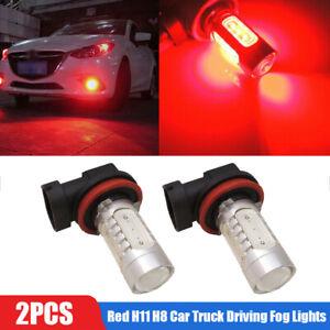2x Brilliant Red H11 H8 Car Truck Driving Fog Lights Lamp Super Bright LED Bulbs