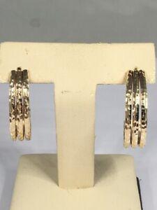 Hand Hammered! Triple Huggie Hoop Earrings 14K Yellow Gold 3.1g (D01050972)