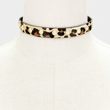 """14"""" leopard animal print faux choker collar Necklace .50"""" wide"""