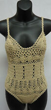 Free People She Made Me Crochet Daisy One Piece Swimsuit Bodysuit TAUPE M/L