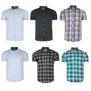 Mens Checked Shirt Summer Cotton Short Sleeve Pinstripe Print Top RRP £25 S-XXL