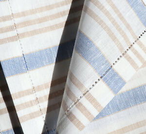 2x Tea Towel Stripes Kracht Kitchen Cloths Semi Linen Beige Blue Striped