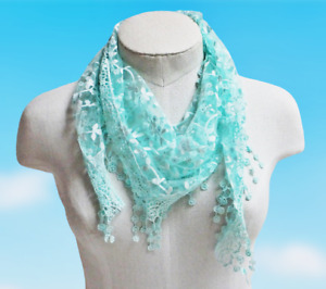 Lace Fashion Scarf Shawl Triangular Embroidered Turquoise Floral Design TRI26