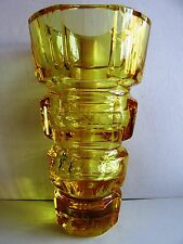 "10.1""tall  CZECH/BOHEMIAN YELLOW HAND-ENGRAVED CRYSTAL VASE MOSER 8.6 lb"