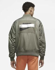 Nike Sportswear Satin Punk Bomber Jacket Green Olive Men's Size 4XL CZ1670-380