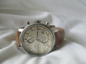 Fossil Watch Silver Toned & Brown Leather Band Date Indicator Classic WORKING!