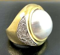 Huge Heavy Vintage 14k Gold Mabe Pearl 1ct VS Diamond Cocktail Ring 20.1 gms