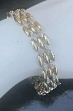"925 Sterling Gold CZ Linked Bracelet Alligator Clasp 7.5"" 27.6 G"