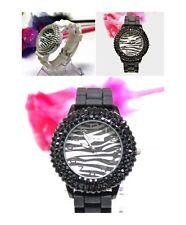 Wholesale Lot of 25 - Zebra Dial 3-line Crystal Bezel Woman Silicone Band Watch