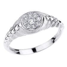 White Gold Watchband Design CZ Studded Unisex Ring