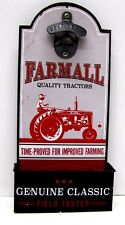 Farmall Quality Tractors Wooden Bottle Opener Sign w/ Catcher