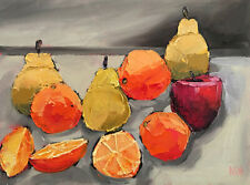 SUMMER PICNIC ONE Original Still Life Fruit Oil Painting Knives 9x12 060819 KEN