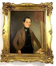 19th C. PORTRAIT OF A GENTLEMAN WITH LETTER, ANTIQUE OIL ON CANVAS