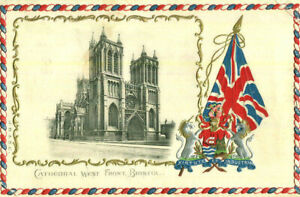1905 postcard Cathedral West Front BRISTOL embossed with Union Flag