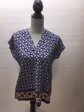 Francesca's Collection Blue Patterned Womens's Chiffon Blouse V-neck (K0038) NWT
