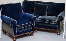 RARE 1860'S COUNTRY HOUSE NAPOLEONIC BLUE SILK VELVET CLUB ARMCHAIR SOFA SUITE