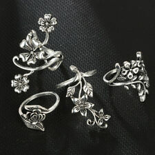 4Pcs/Set Retro Flower Leaves Midi Finger Knuckle Rings Boho Fashion Jewelry hot