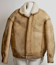 Men's 100% Sheepskin Shearling Leather Bomber Jacket  Sz 40 France Neiman Marcus