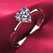 2 Ct Heart Shape Solitaire Engagement Wedding Promise Ring 14 K White Gold Over