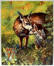 2002 Mnh Liberia Wind In The Willows Mule Deer Stamps Souvenir Sheet Fairytales