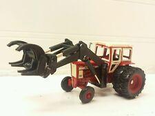 1/64 ERTL farm toy custom ih farmall 706 wf tractor w/cab & black loader grapple