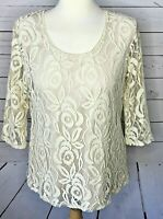 Casual Express large top ivory white lace 3/4 sleeve dressy romantic floral