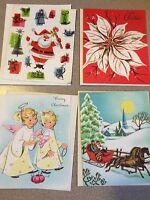 LOT of 4 Vintage Christmas Cards Unused 50's & 60's USA Angel  Santa Sleigh