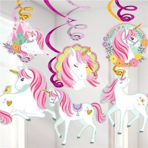 MAGICAL UNICORN HANGING SWIRLS DECORATIONS HANGING DECORATION PARTY SUPPLIES