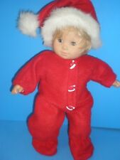 CLOTHES FOR BITTY BABY  RED CHRISTMAS FLEECE SLEEPER AND SANTA HAT