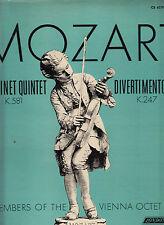 MOZART CLARINET QUINTET K581/DIVERTIMENTO K247-VIENNA OCTET 1964 RARE VG+