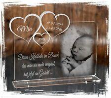 1 Aufsteller Acrylglas inkl. Gravur (Foto + Text) - Taufe / Geburt / Hochzeit D2